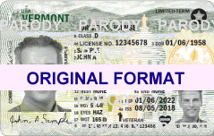 VERMONT DRIVER LICENSE ORIGINAL FORMAT, DESIGN SPECIFICATIONS, NOVELTY SECURITY CARD PROFILES, IDENTITY, NEW SOFTWARE ID SOFTWARE